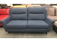 Blue fabric 3 seater sofa and storage footstool