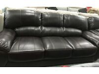 Leather 3 seater and 2 Armchairs