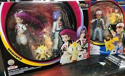 BANDAI S.H.Figuarts Pokemon Ash Satoshi & Team Rocket Normal SET Action Figure