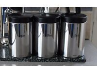 BLACK AND CHROME CANNISTER SET OF THREE, TEA/COFFEE AND CHROME