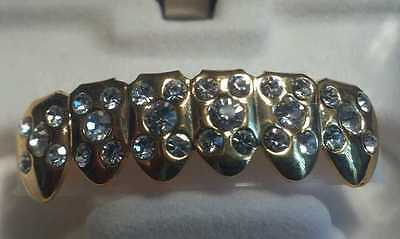 BEST GRILLZ GOLD W/ 5 CLEAR RHINESTONES PER TOOTH COSTUME JEWELRY PIMP