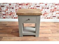Rustic Wood Lamp Telephone Side Table with Drawer in Matt French Grey Finish