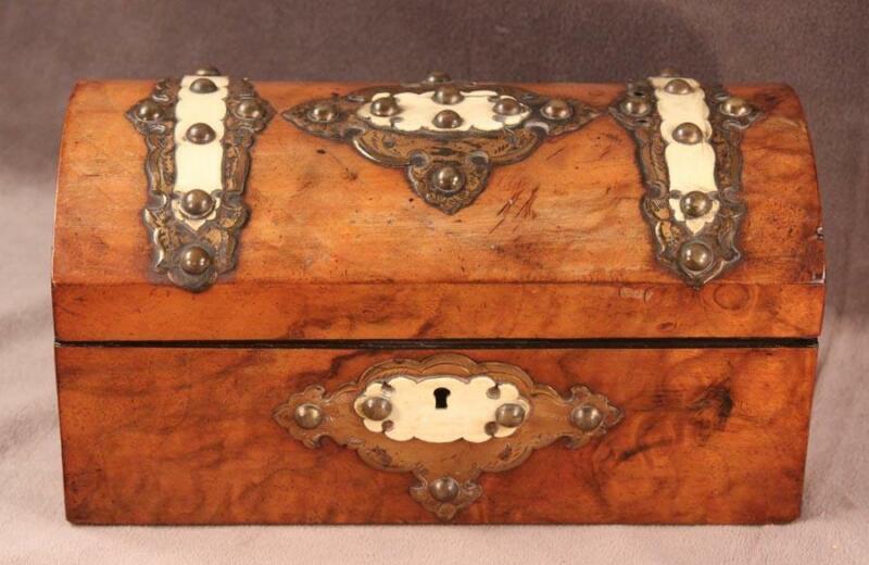Antique 19th Century English Burl Walnut Tea Caddy Box Brass & Bone Trim