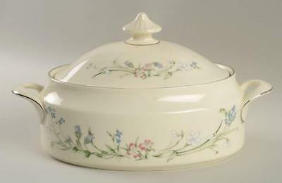 Minton Brookwood Fine Bone China Platinum Trim Covered Vegetable Bowl 10 3/4 ""