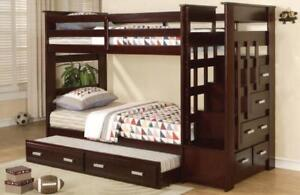Staircase Twin Bunk Bed in Espresso with Stairs, Storage Drawers, Pull-out Trundle Bed, and Optional Mattresses