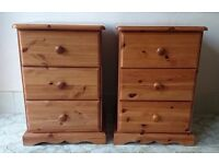 Two Solid Pine Bedside Cabinets with Dovetail Joints
