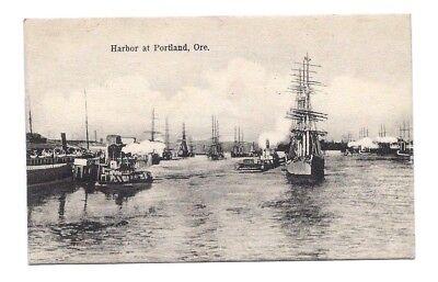 Vintage 1907 POSTCARD PORTLAND HARBOR BOAT SHIP SCHOONER photo art Oregon OR US