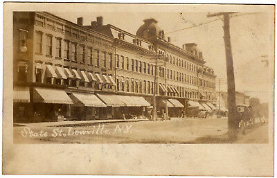 Lowville NY - STATE STREET STORES - RPPC Postcard