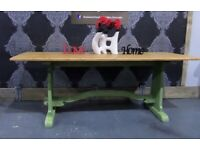 """Stunning Reclaimed Oak Trestle Refectory Dining Kitchen Table 78"""" x 27"""" - UK Delivery"""
