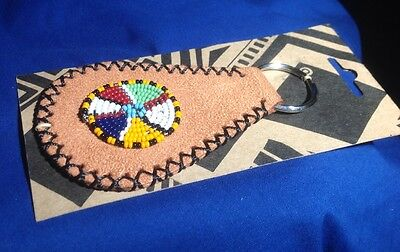 Folk Art Hand Made Crafted Leather Beaded Key Chain Fob Purchased In 2007 (Beaded Keychain Craft)