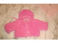 Fur coat, shawl & loopy handmade cardigan & hat