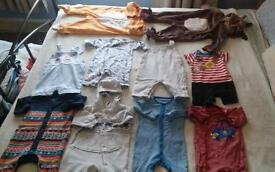 50 items of boy clothes 0 to 6 months