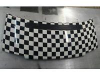 Vw t4 short nose bonnet black white chequered vinyl wrap