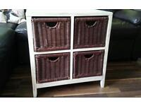 Wooden / wicker shabby chic style 4 drawers