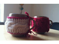 2 coffee tea ceramic cups with handmade covers
