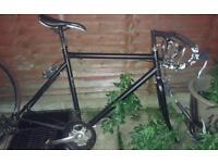 Matte black 54cm Road bike frame + forks & extras