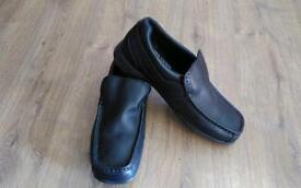 Clarks Bootleg Teenage Boys 10G School Shoes Black Leather
