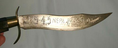 1945 WWII PHILIPPINES NEPA WW2 BOLO BOWIE KNIFE DAGGER WATER BUFFALO HANDLE
