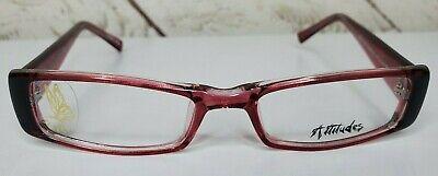 Attitudes Womens Eyeglasses Frames Cranberry Pink Rectangle Plastic 49 17 (Attitude Glasses Frames)