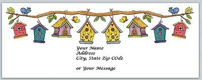 30 Personalized Return Address Labels Bird Houses Buy 3 get 1 free (bh1)
