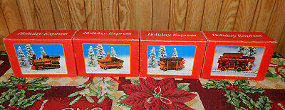 Holiday Express Christmas Train Set Vintage 4 Piece Set 1995