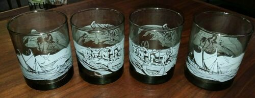 LOT of 4 McDonalds Hawaii Drinking glasses SET outrigger beach Vintage