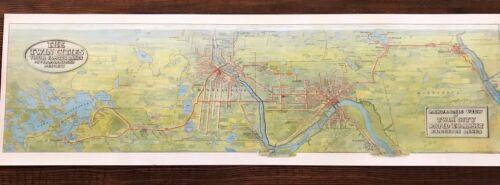 1907 Panoramic Twin Cities Rapid Transit Minneapolis St. Paul Electric Line Map