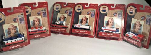 2005 Set of 6 Pepsi Cola Collector Die Cast Metal Train Cars Gear Box Toys NIP