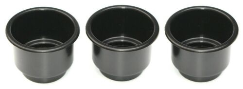 "3-pack Black Plastic Cup 3 5/8"" Size Holder Boat Rv Car Truck Insert Large Jumbo"
