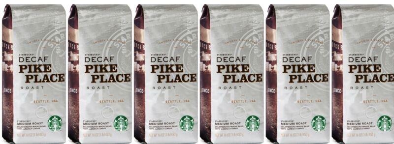 6lbs Starbucks Decaf Pike Place Coffee Whole Bean 1lb Bags Medium Roast 6/2021