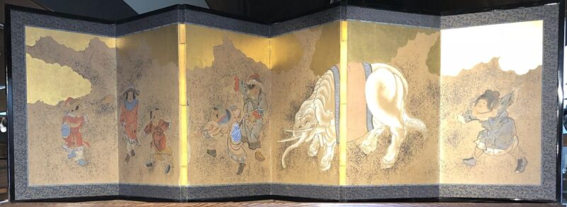 Antique Japanese 6 Panel Byobu Screen Gilded with Gold