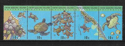 COCOS (KEELING) IS 1994 TURTLES Strip of 5v MNH