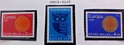 3 X Timbre Stamp Grèce Ellas Greece 1970 YT 1020 1021 1022 EUROPA CEPT Neufs