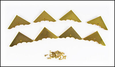 8pc. Shiny Gold Finish Box Corners with Screws - Great for Crafts! 32-34-01 on Rummage