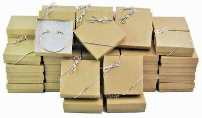 100pc Kraft Wholesale Boxes Cotton Filled Jewelry Boxes Bracelet Boxes Freebows