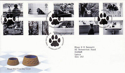 13 FEBRUARY 2001 CATS AND DOGS ROYAL MAIL FIRST DAY COVER PETTS WOOD SHS (a)