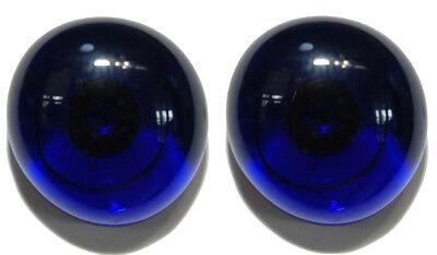 Blue Gem Earrings (BRIGHT ROYAL BLUE SEMI TRANSPARENT GLASS GEM STUD or CLIP ON EARRINGS (S113) )