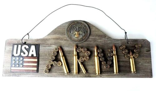 USA Army Military Shot Gun Shells Wood Plaque 22 1/2 x 9 1/2in Wall Hanging New