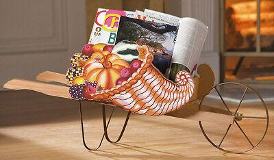 Harvest Fall Autumn Cornucopia Wagon Decorative Storage Accent Magazine Basket - Cornucopia Baskets