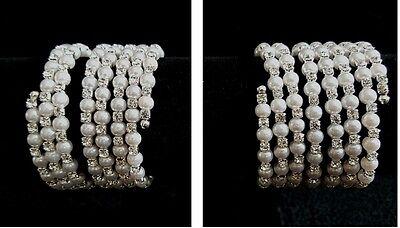 Hochzeit Armband Armreif Kunstperlen Armschmuck silber-Weiß dehnbar 3 5 reihig (Armreif Perle Armband)