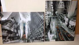 2 Large New York City Canvas Wall Art B&W
