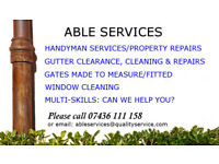 Handyman/property repairs/ guttering/gates made and fitted/multi-skilled