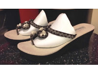 Wedges / Thick Soled Womens Sandals Black Beaded