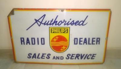 1940's Vintage Old Rarest Philips Radio Dealer Ad Porcelain Enamel Sign Board