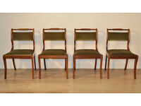 Set Of Four Vintage Upholstered Carved Rope Twist Mahogany Dining Kitchen Chairs