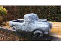 Large land rover solid concrete planter garden ornament