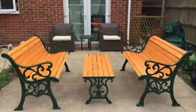 Cast Iron Flur-De-lis garden furniture set, benches & matching table