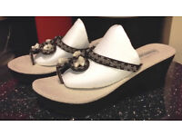 Wedges / Thick Soled Sandals Black Beaded