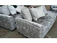 NEW Designer Glitz 2 x 3 seater Crushed Velvet Sofa Set Suite Silver DELIVERY AVAILABLE