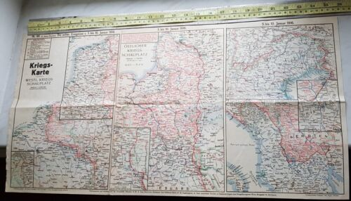 Map Card Germany  1916 Europe .  Battle Front defence Rusian France WW 1